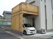 サイプレスで造った2階ウッドデッキと木製カーポート 横浜市K様邸