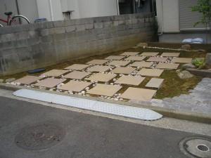 砂岩系平板のカーポート
