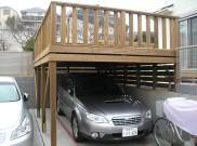 駐車場の上を有効利用 サーモウッドのウッドデッキ 横浜市港北区 Y様邸